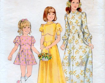Vintage 70s Girls Size 8 Sewing Pattern Dress with Midriff panel Style 4264