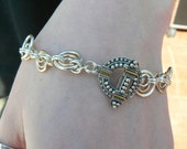 "Sterling Silver and Gold filled ""Target"" Chain Maille bracelet"