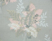 1950s Vintage Wallpaper by the Yard - Pink White and Gray Botanical Fern Leaves Bouquets