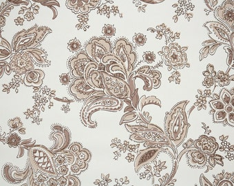 1940s Vintage Wallpaper by the Yard - Brown Floral Damask Paisley