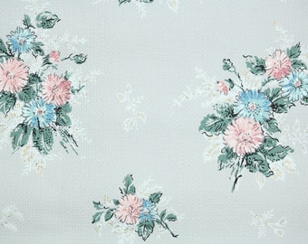 1960s Vintage Wallpaper by the Yard - Floral Vintage Wallpaper Pink and Blue Bouquets on textured paper