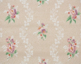 1930's Vintage Wallpaper - Antique Floral with Pink and Purple Flower Bouquets