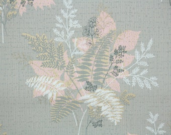 1940's Vintage Wallpaper - Pink Gray and White Fern Bouquets on Gray