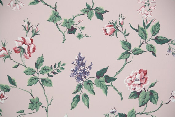 1940s vintage wallpaper by the yard floral wallpaper with for Stoffa da parati