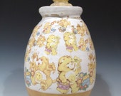 Large Care Bear Jar in yellow -- collaboration with Zach Tate