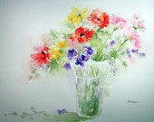 Watercolor Painting Bouquet of Flowers Colorful Print