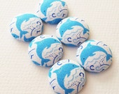 blue Dolphin fabric covered buttons with a white background - MEDIUM -made in the USA -