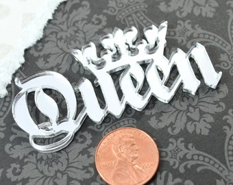 QUEEN CABOCHON- In Silver Mirror Laser Cut Acrylic