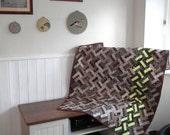 Parquetry Lap Quilt, Brown Throw, Sofa throw, modern quilt, contemporary quilt, parquet floor