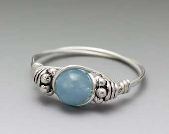 Blue Hemimorphite Bali Sterling Silver Wire Wrapped Ring ANY size