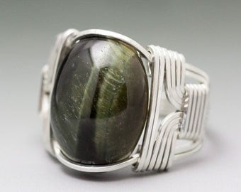Green Tigers Eye Cabochon Sterling Silver Wire Wrapped Ring ANY size