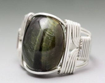 Green Tiger's Eye Cabochon Sterling Silver Wire Wrapped Ring - Made to Order and Ships Fast!