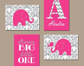 Elephant Damask Wall Art, Hot Pink Nursery Decor, Baby Girl Artwork, Dream Big Little One, Girl Bedroom Pictures, Canvas or Prints, Set of 4