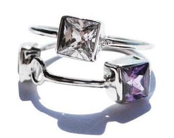 Mixed Gemstone Ring Womens Sterling Silver Rings with Topaz and Amethyst