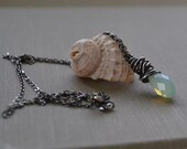 Mint Opal Necklace, Briolette Pendant Oxidized Sterling Necklace, Wire Wrapped Chryoslite Swarovski Pendant, Sterling Silver, Beach Jewelry