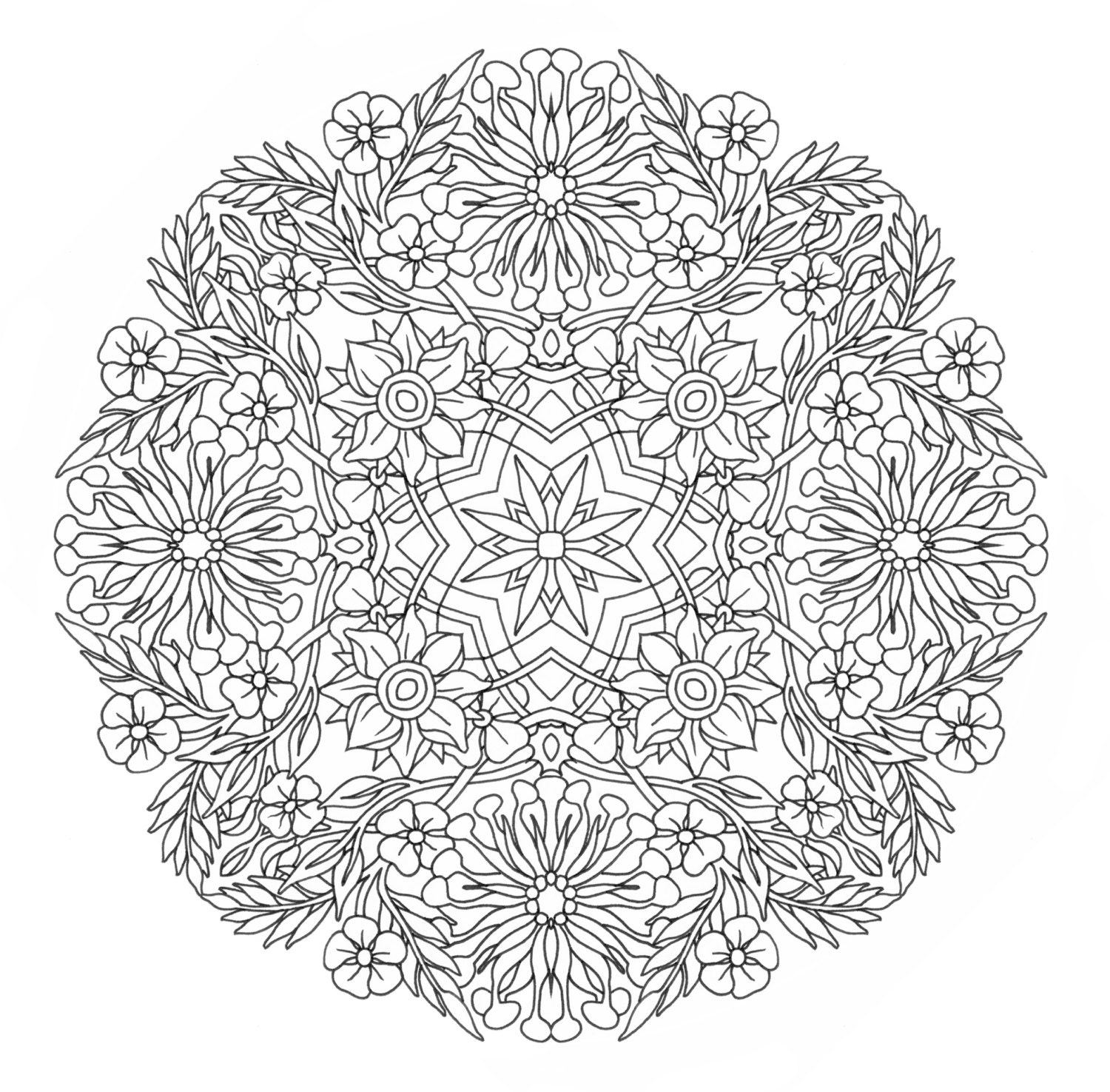 complex design coloring pages - printable coloring page honey suckle mandala by emerlyearts