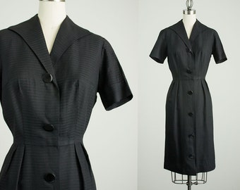 50s Vintage Black Button Down Day Dress / Size Small