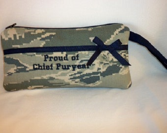 Military small clutch wristlet choose Navy Army Air Force Marines customize ribbon color party favor Mothers day birthday gift