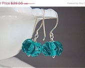 CLEARANCE Teal Blue Green Artisan Lampwork Glass Swirls and Dots Dangle Earrings