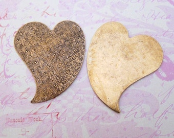 SALE 2 Large Brass Heart Findings 3418