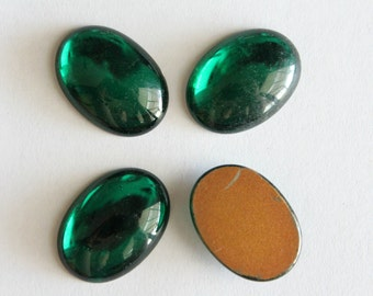 Vintage oval green glass cabochons 25x18mm (4)
