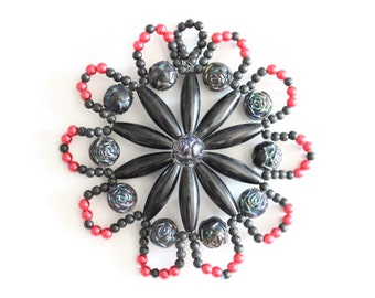 """Vintage beaded flower finding - black and pink 3"""""""