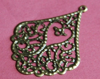 10 pcs of Antique brass filigree teardrop 53x39mm