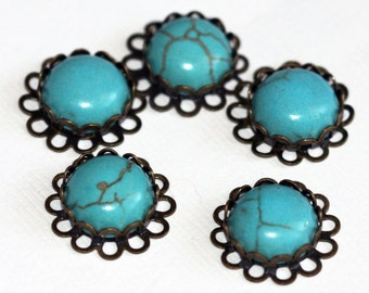 6 pcs Turquoise cabochon with antique brass setting 13x13mm, turquoise brass connector, turquoise links, antique brass connector