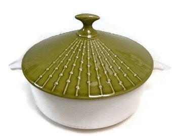 Beautiful Mid Century Casserole Dish Green Atomic