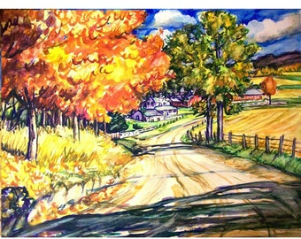 AUTUMN ROAD - 11x15 original painting landscape watercolor OOAK, Original, Autumn Painting, Fall, Farm Country, Rural, Gravel Road,Trees