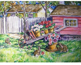 WHEELBARROW BUNNIES - 11x15 original painting landscape watercolor OOAK, Rabbit, Bunny, Bunny Rabbit, Animal, Garden, Yard, Flower, House