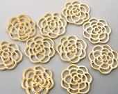 Gold Flower Charm, Open Flower Charm 10 Pieces Rose Jewelry Pendant Supply |LG10-1|10