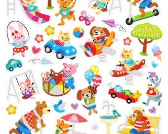 Animals At Playground Sticker • Animal Stickers • Cute Animal Sticker • Playground Birthday • Playground Sticker • Playground Party (SK4526)