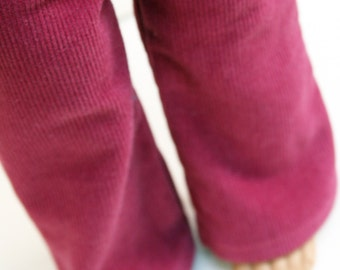 Fits like American Girl Doll Clothes - Repurposed Faded Fuchsia Corduroy Flared Pants, Made To Order