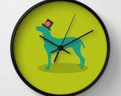 Dog Wall clock - Green clock - Modern wall clock -Nursery decor - Decorative Clock -Contemporary decor - Wall Decor - Wall art