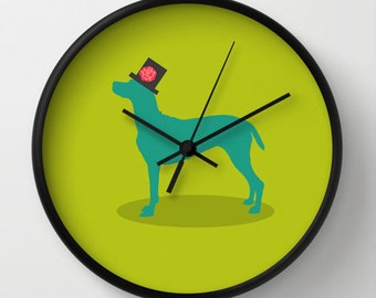 Dog Wall clock - Green clock - Modern wall clock -Nursery decor - Decorative Clock -Contemporary decor - Wall Decor - Wall art