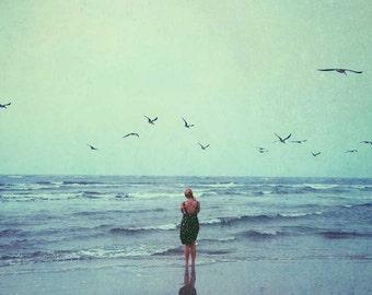 Dreamy beach photograph . summer . ocean . waves . birds . woman . photography . Tybee Island Georgia . blue . stormy . landscape print