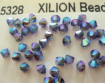 24 Tanzanite AB2X Swarovski Crystal Beads Bicone 5328 4mm