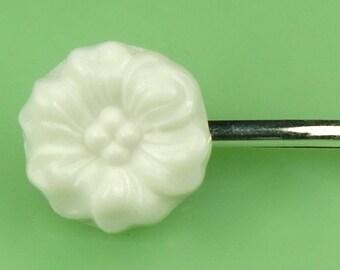 Vintage White Milk Glass Flower Hairpin