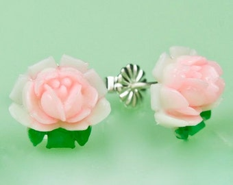 Vintage Celluloid Pink Rose Post Earrings