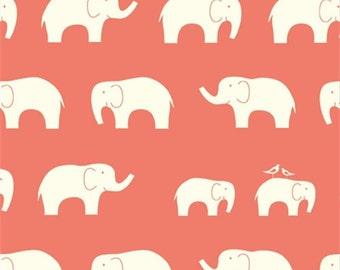 Birch Fabrics Elephant Family Coral Organic Cotton