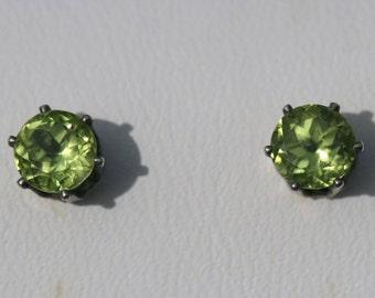 Green Peridot Earrings , Post Earrings, 5mm Green Studs, August Birthstone, Green Stud Earrings, Small Peridot Earrings Maggie McMane Design