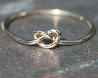 Love Knot Ring , Gold Infinity Knot , Size 8.5 Gold Ring , Eternity Ring ,  Skinny Ring , Statement Ring , Love Knot Maggie McMane Designs