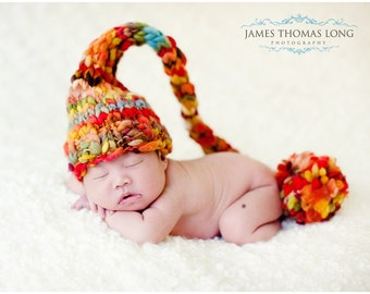 NEWBORN Baby Photography Prop - Knit Hat - Elf - Fall - Autumn - Handdyed and Handspun yarn