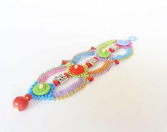 Spring Disc Bead Weaving Bracelet - Peyote Stitch Bead Weaving Bracelet
