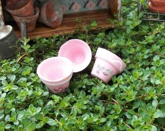 Set of 3 Hand Painted Shabby Pink Roses Terracotta Clay Flower Plant Pots or Planters Miniature Doll House and Fairy Garden