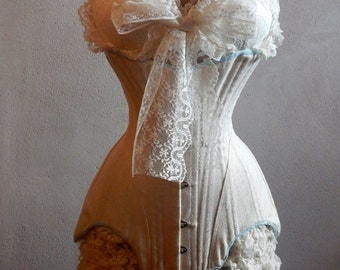 Romantic Edwardian Era  Ruffle Corset Knickers and Bralette