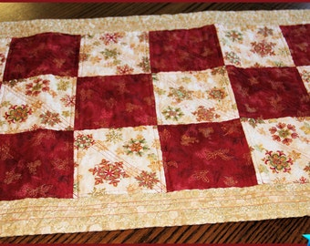 Quilted Christmas Table Runner, Christmas Table Centerpiece, Quilted Christmas Table Topper,  Handmade Table Decoration, Christmas Gift