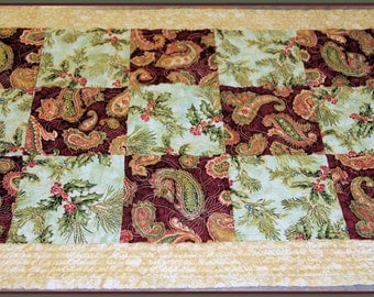 Quilted Christmas Table Runner Quilted Christmas Table Centerpiece Quilted Christmas Table Topper  Handmade Table Decoration Christmas Gift