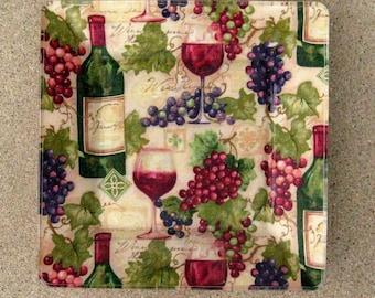 Designer Decoupage Plate Wine Grapes